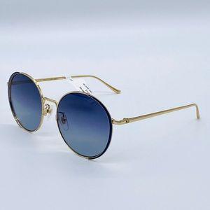 NWT Gucci GG0401SK Round Blue & Gold Sunglasses